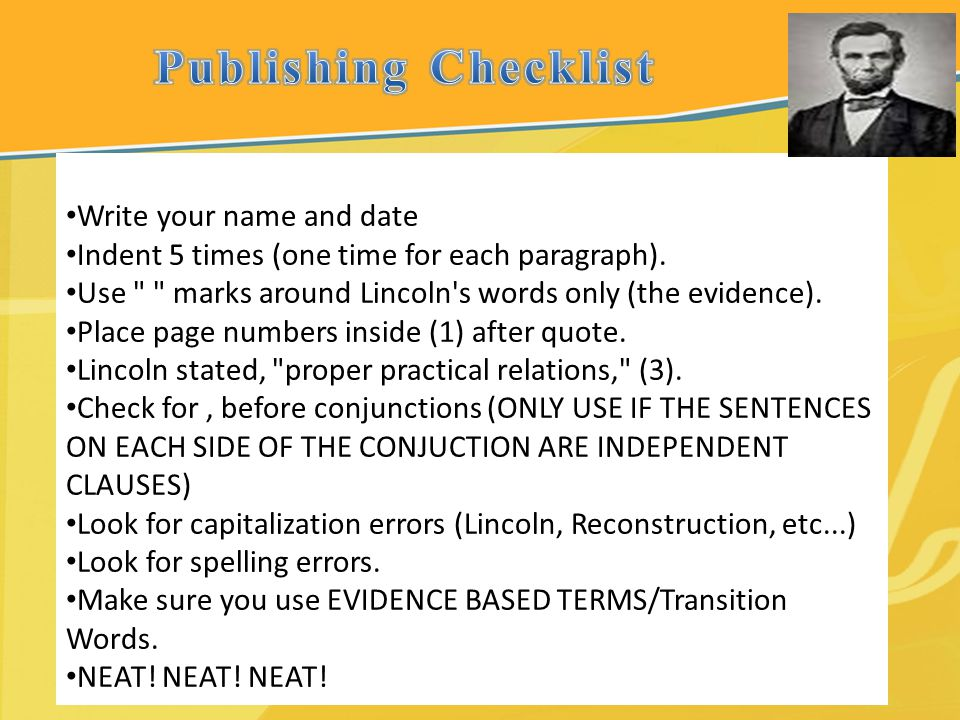 Publishing Checklist Write your name and date