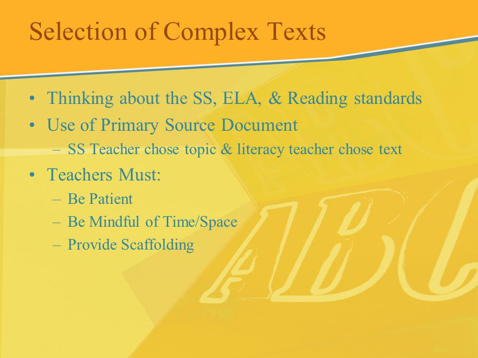 Selection of Complex Texts