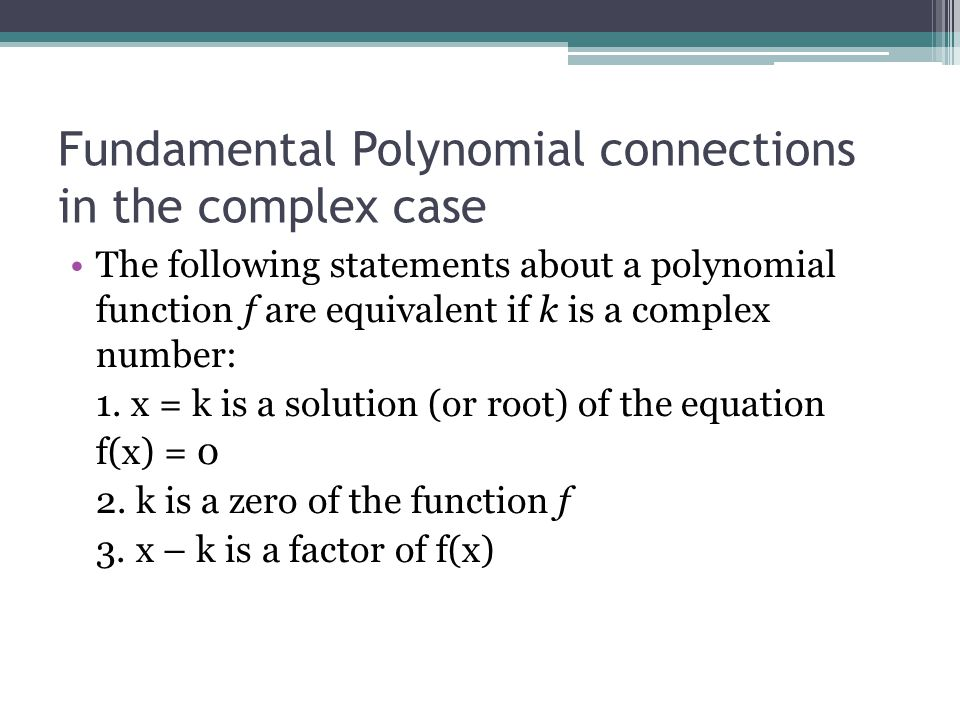 Fundamental Polynomial connections in the complex case