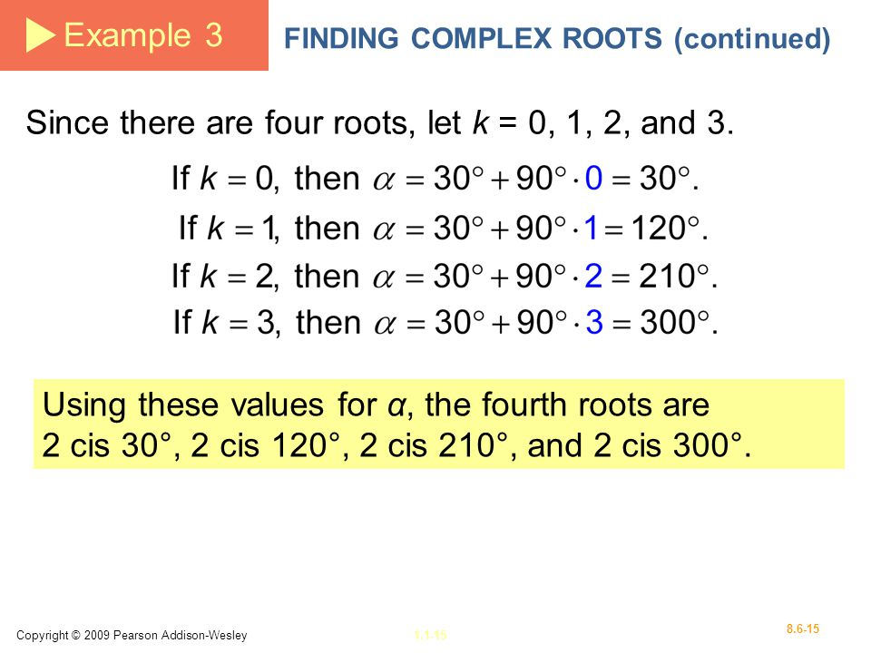 Since there are four roots, let k = 0, 1, 2, and 3.
