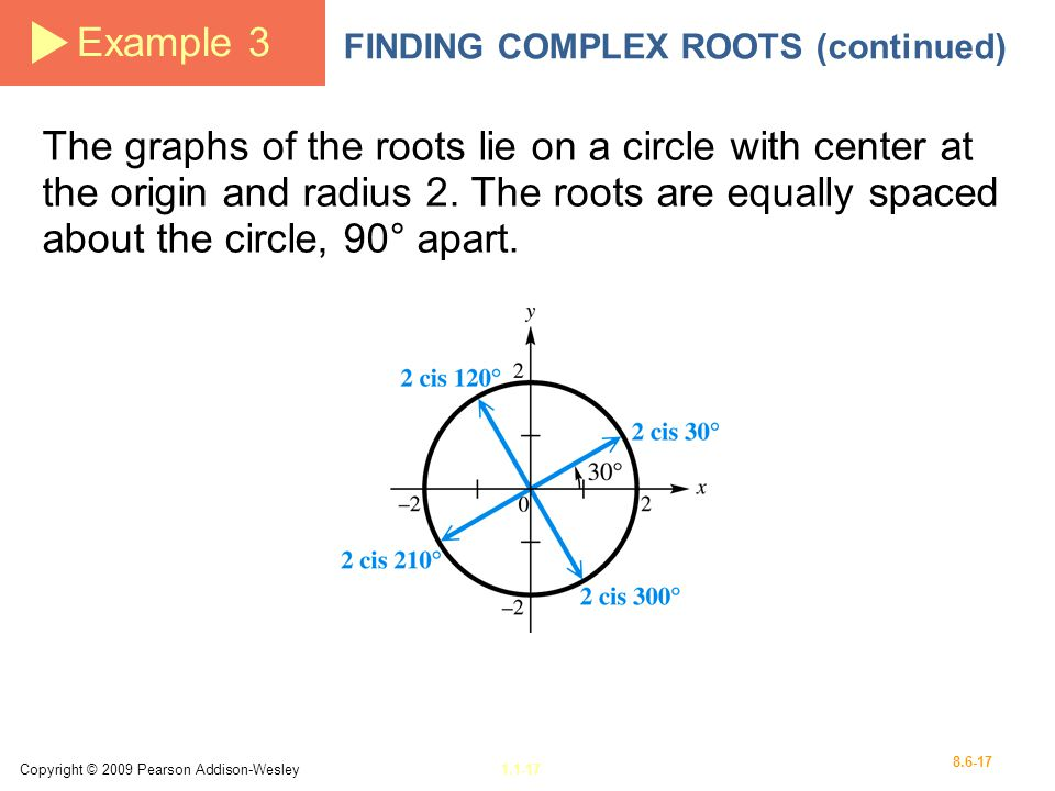 Example 3 FINDING COMPLEX ROOTS (continued)
