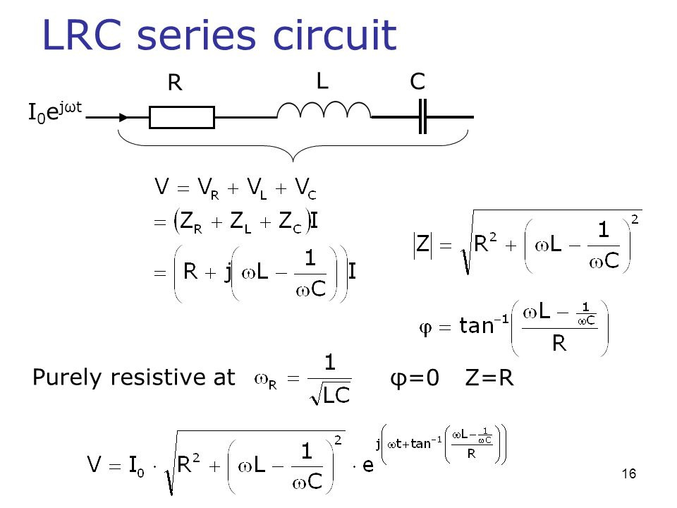 LRC series circuit R L C I0ejωt Purely resistive at φ=0 Z=R