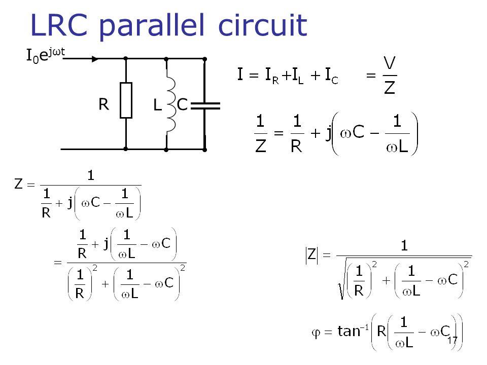 LRC parallel circuit I0ejωt R L C