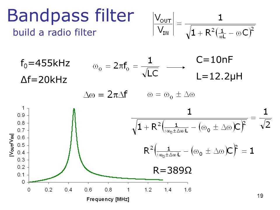 Bandpass filter build a radio filter C=10nF f0=455kHz L=12.2μH