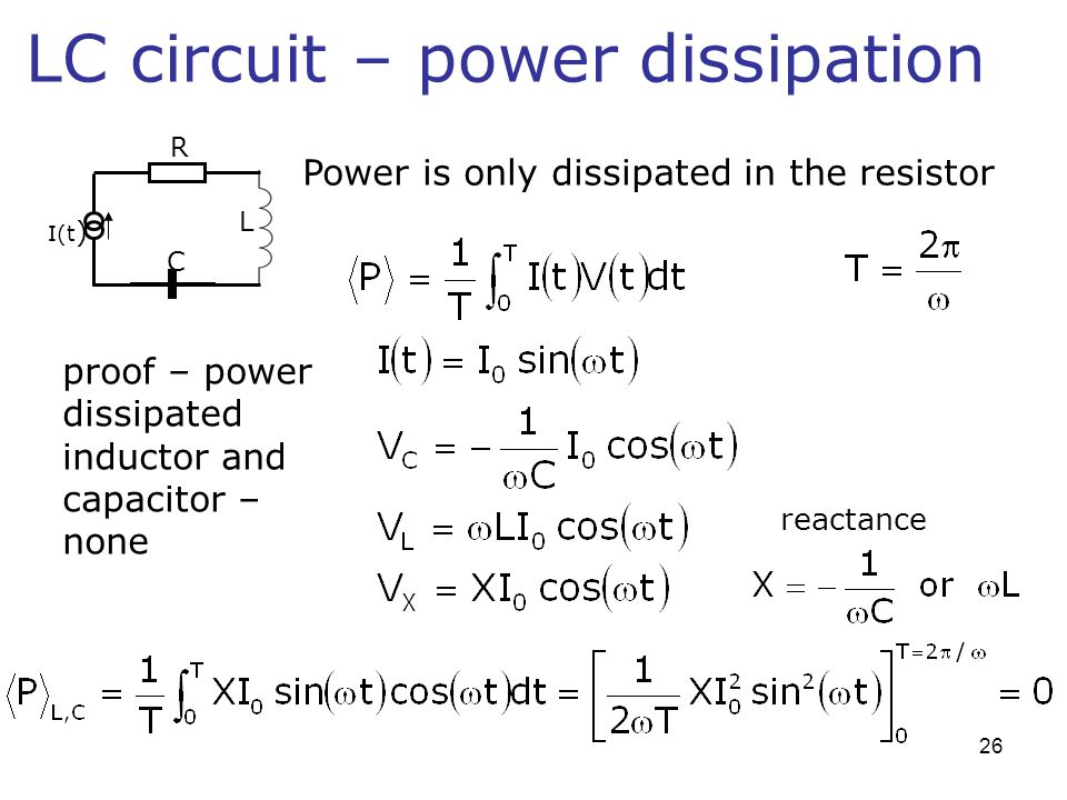 LC circuit – power dissipation