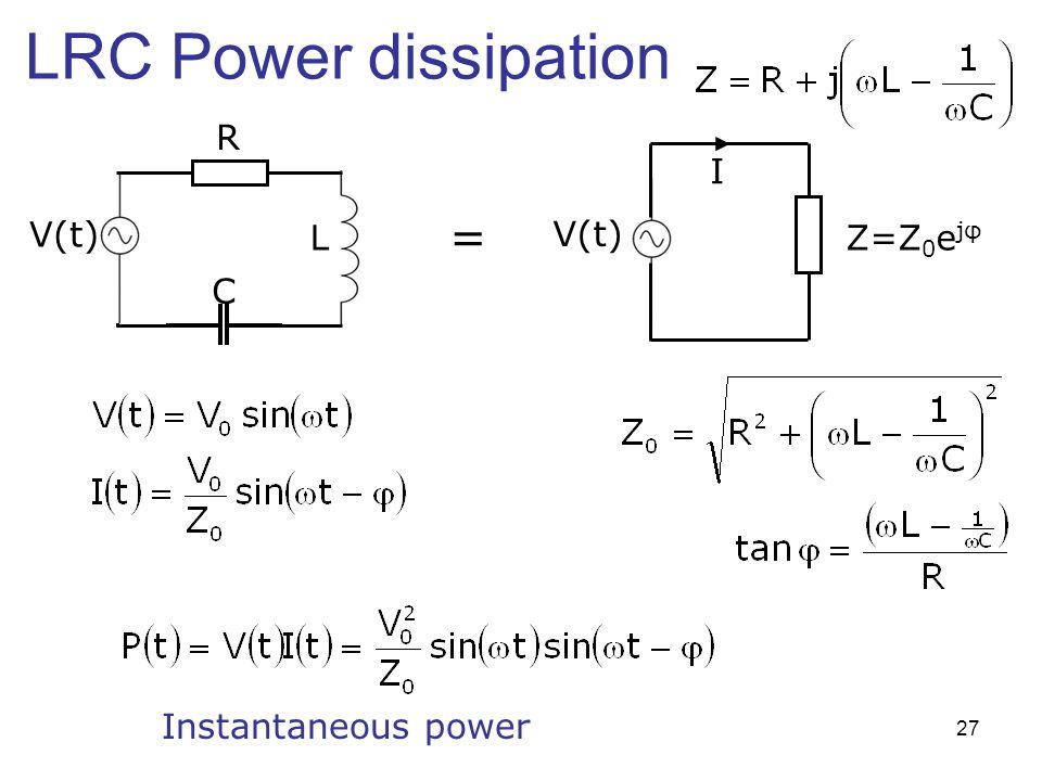 LRC Power dissipation R I V(t) = L V(t) Z=Z0ejφ C Instantaneous power