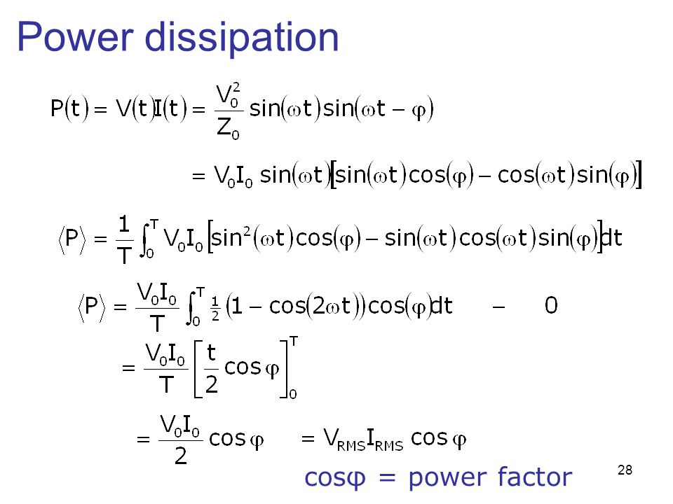Power dissipation cosφ = power factor