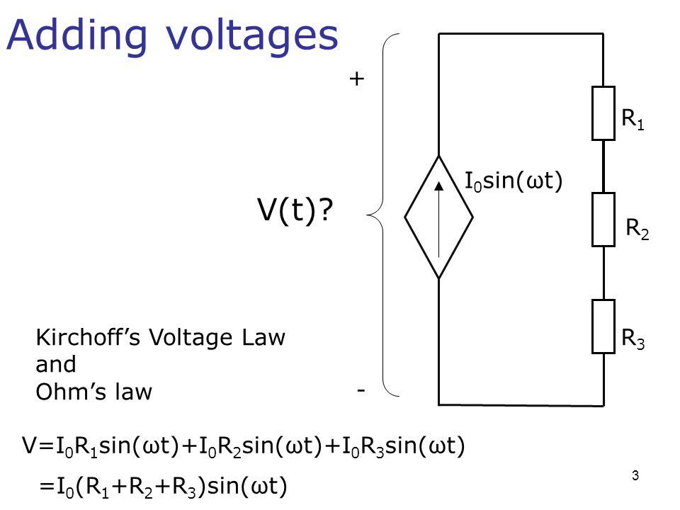 Adding voltages V(t) + R1 I0sin(ωt) R2