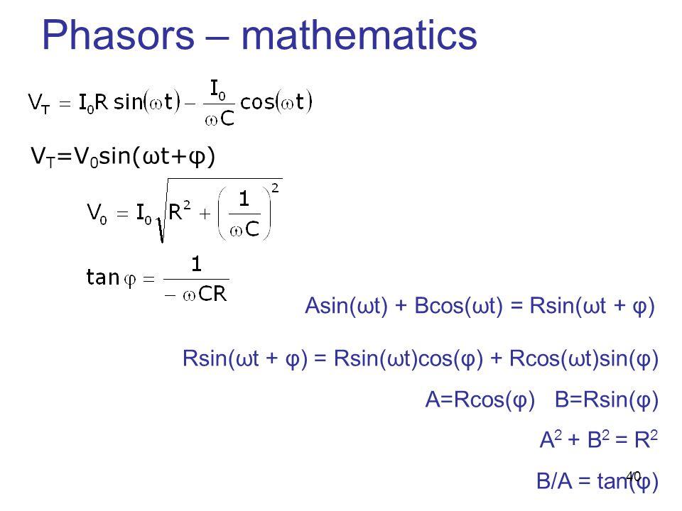 Phasors – mathematics VT=V0sin(ωt+φ)