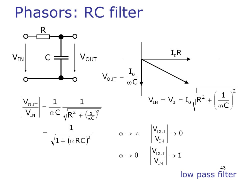 Phasors: RC filter R VIN C VOUT low pass filter