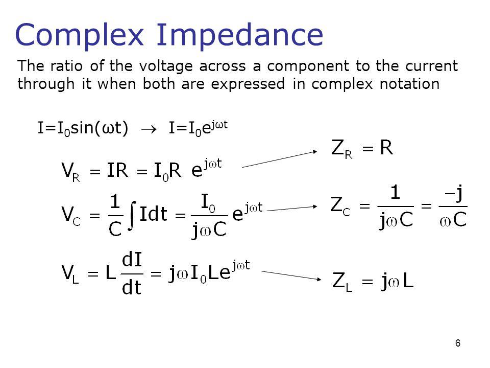 Complex Impedance I=I0sin(ωt)  I=I0ejωt