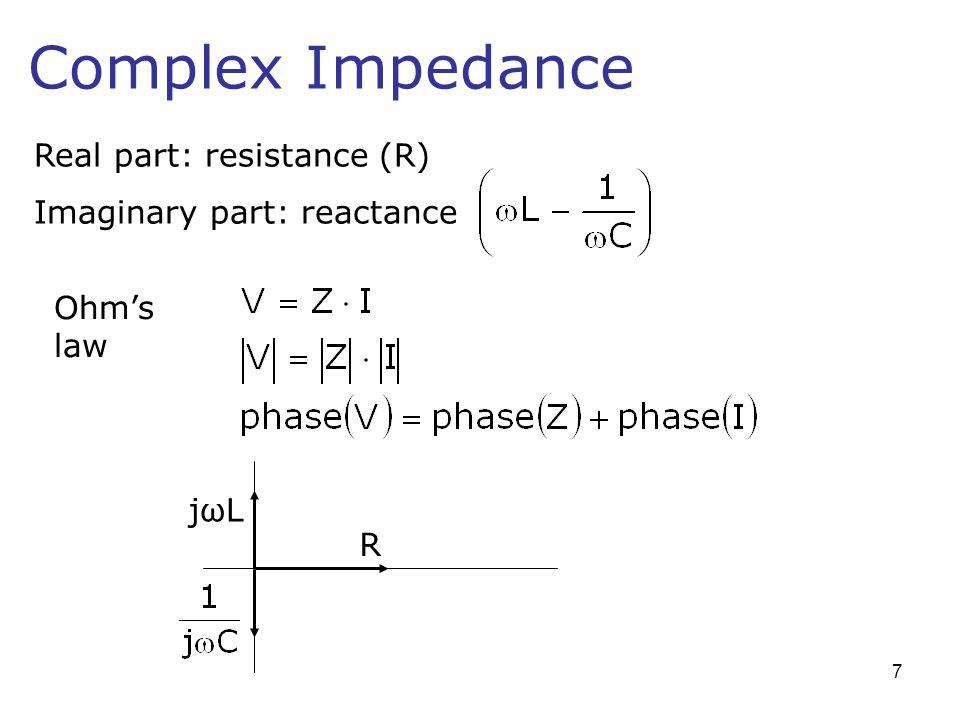 Complex Impedance Real part: resistance (R) Imaginary part: reactance