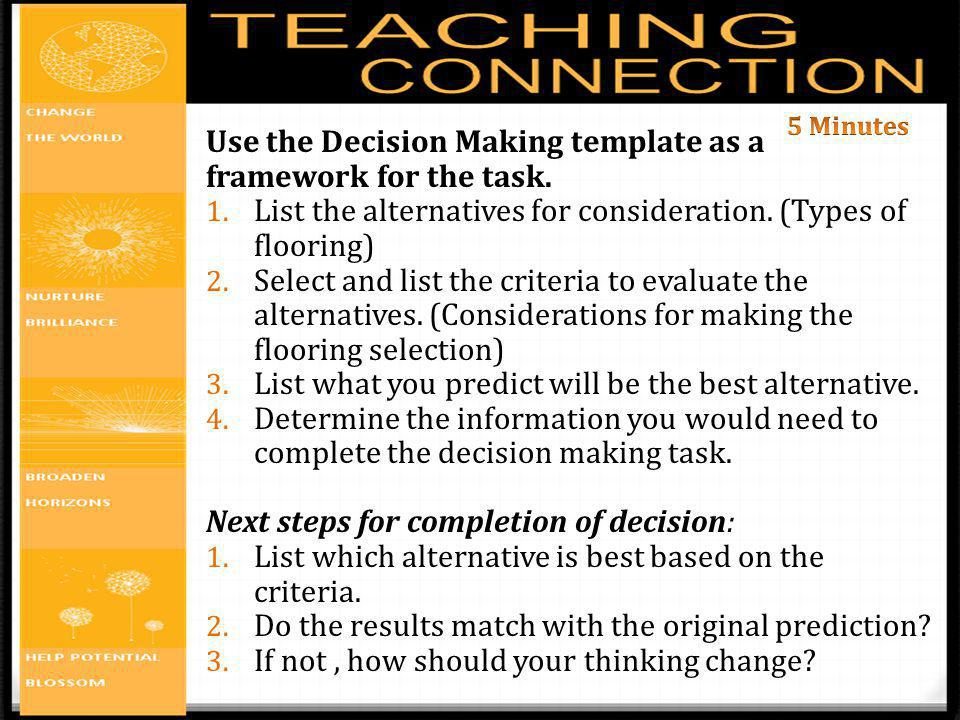 Use the Decision Making template as a framework for the task.