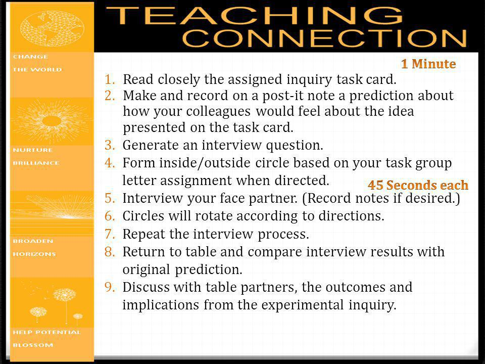 Read closely the assigned inquiry task card.