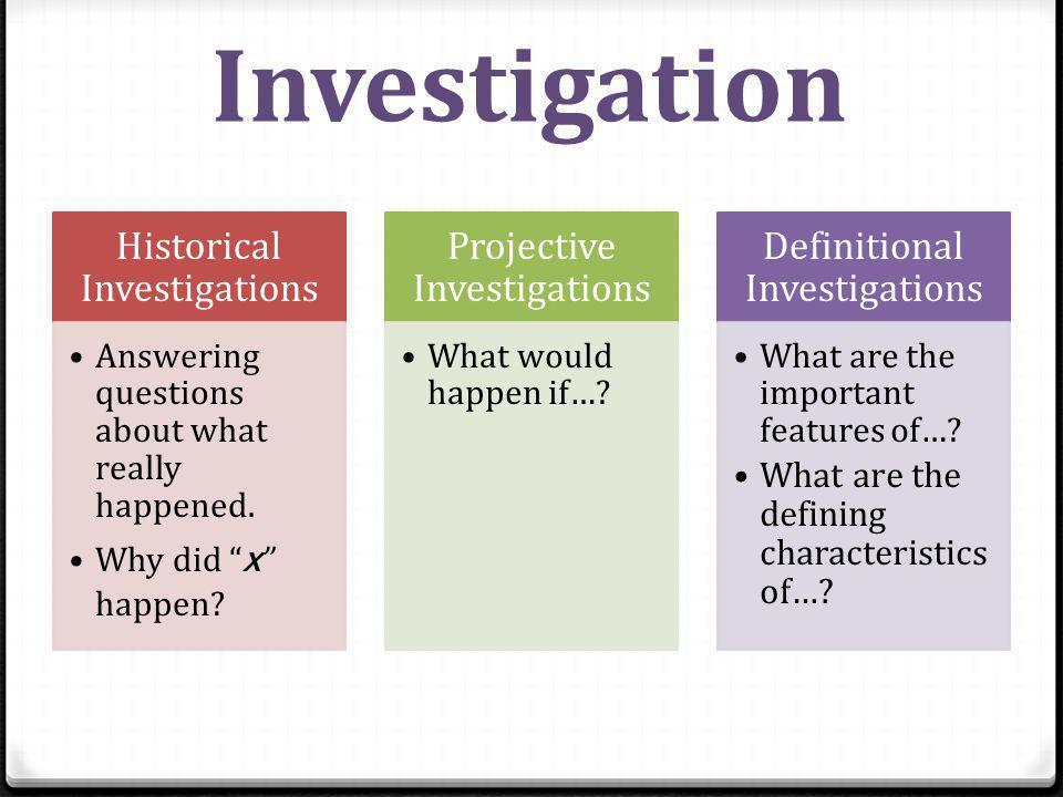 Investigation Historical Investigations Projective Investigations