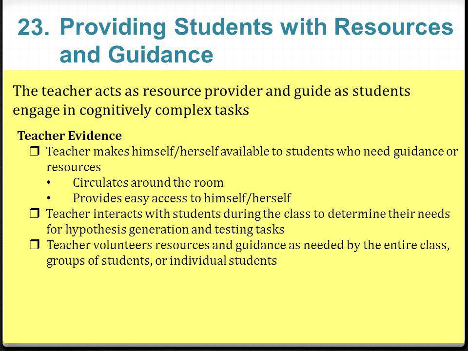 Providing Students with Resources and Guidance