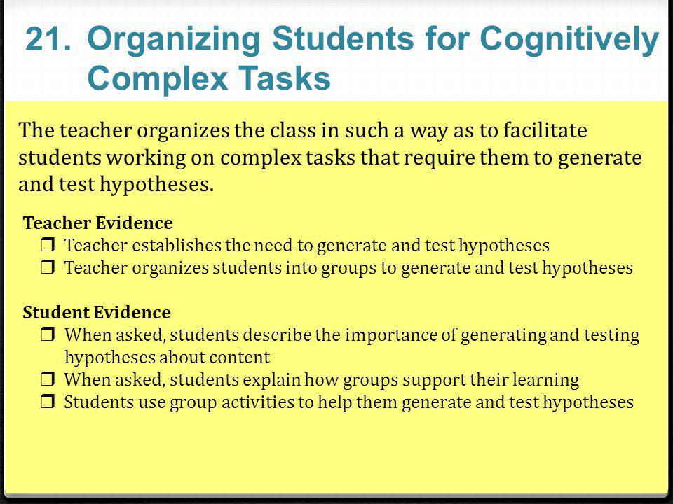 Organizing Students for Cognitively Complex Tasks