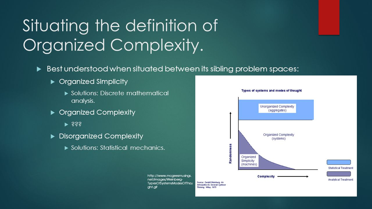 Situating the definition of Organized Complexity.