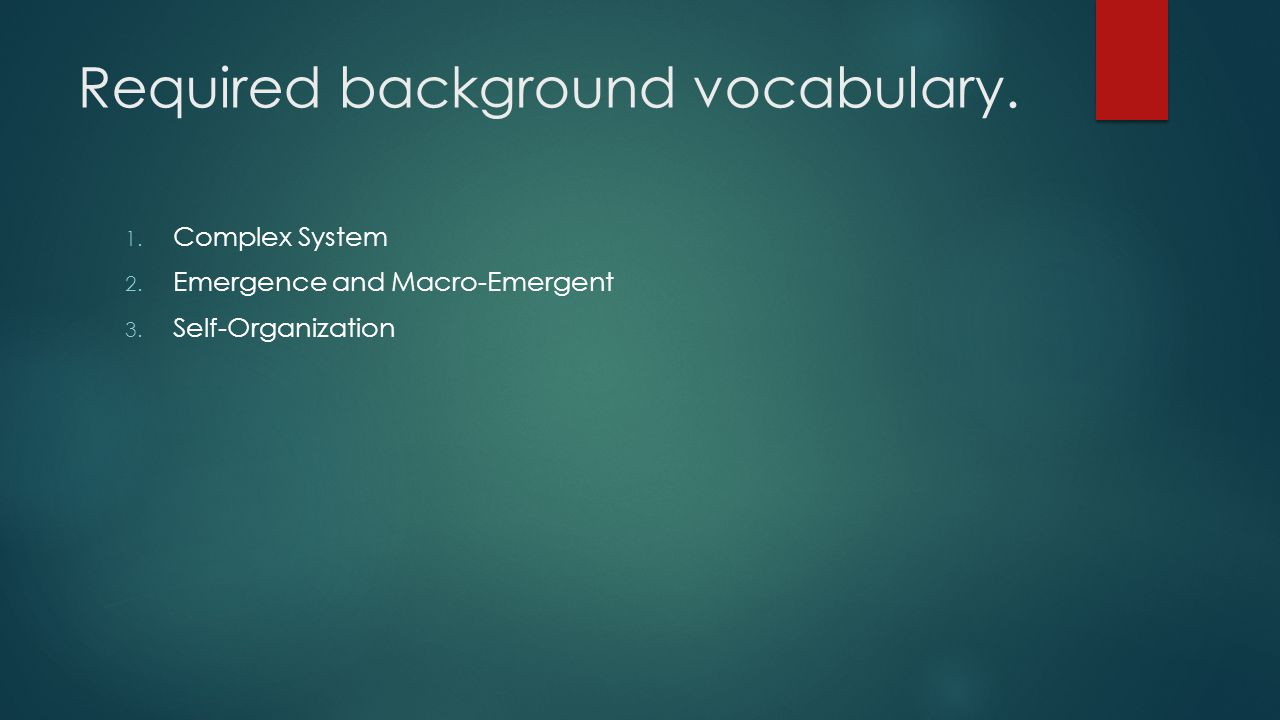 Required background vocabulary.
