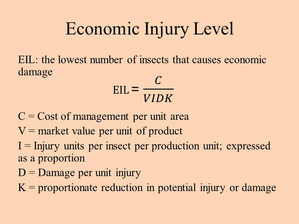 Economic Injury Level EIL = 𝐶 𝑉𝐼𝐷𝐾