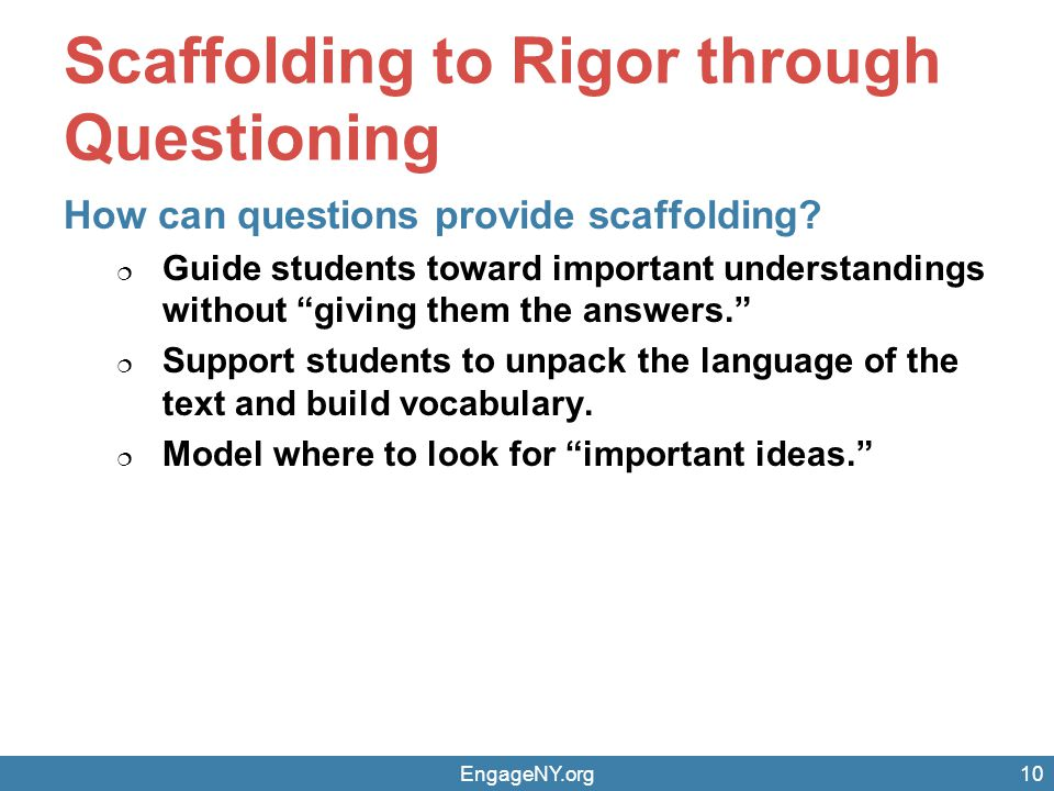 Scaffolding to Rigor through Questioning