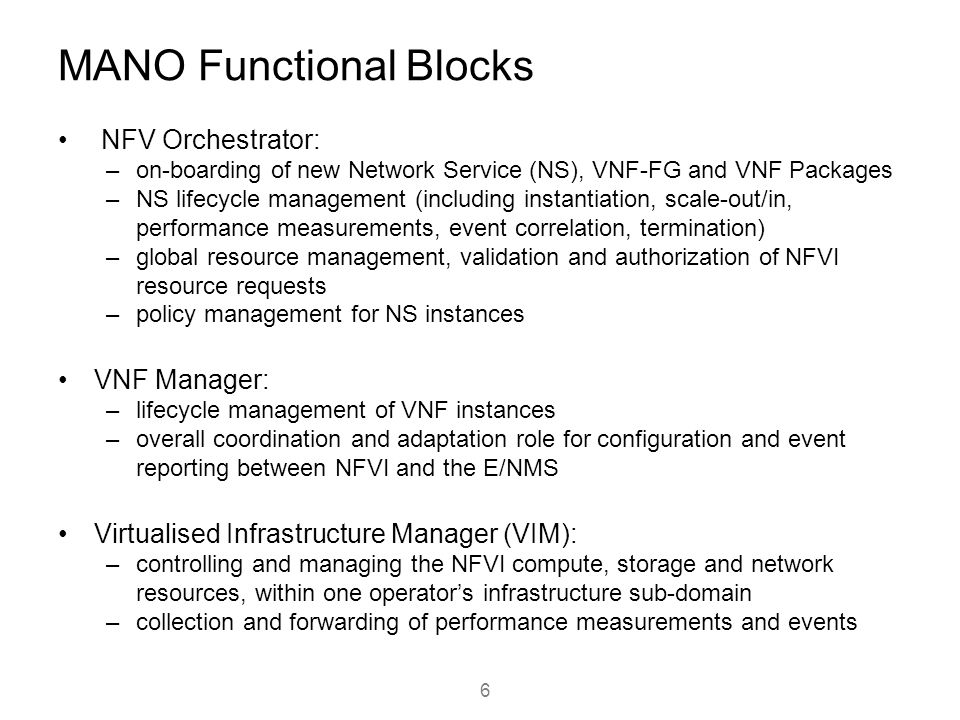 MANO Functional Blocks