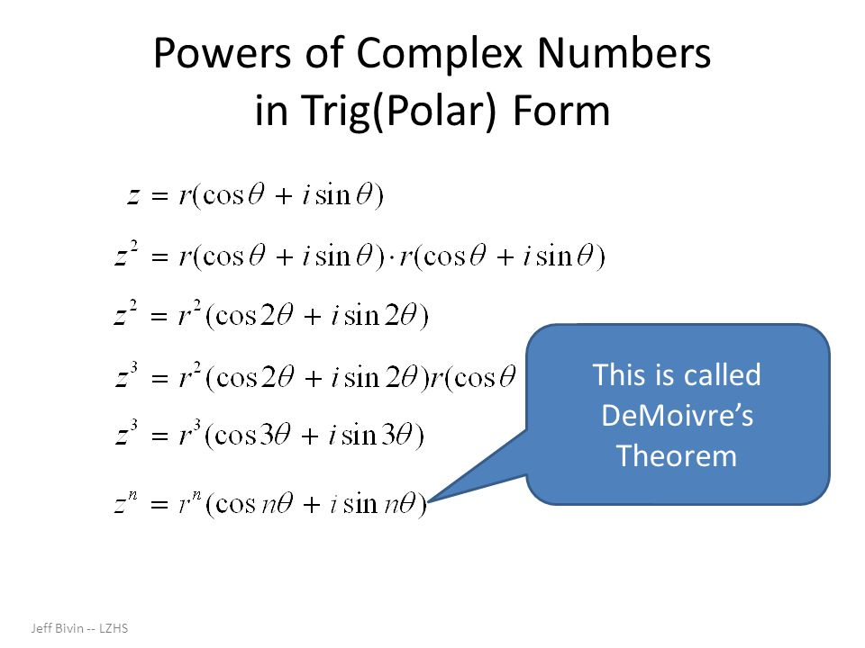Powers of Complex Numbers in Trig(Polar) Form