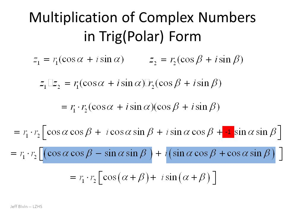 Multiplication of Complex Numbers in Trig(Polar) Form