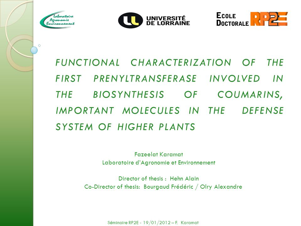 functional characterization of the first prenyltransferase involved in the biosynthesis of coumarins, important molecules in the defense system of higher plants