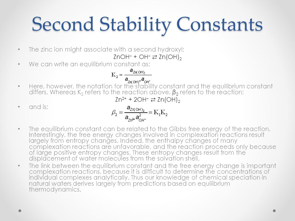 Second Stability Constants