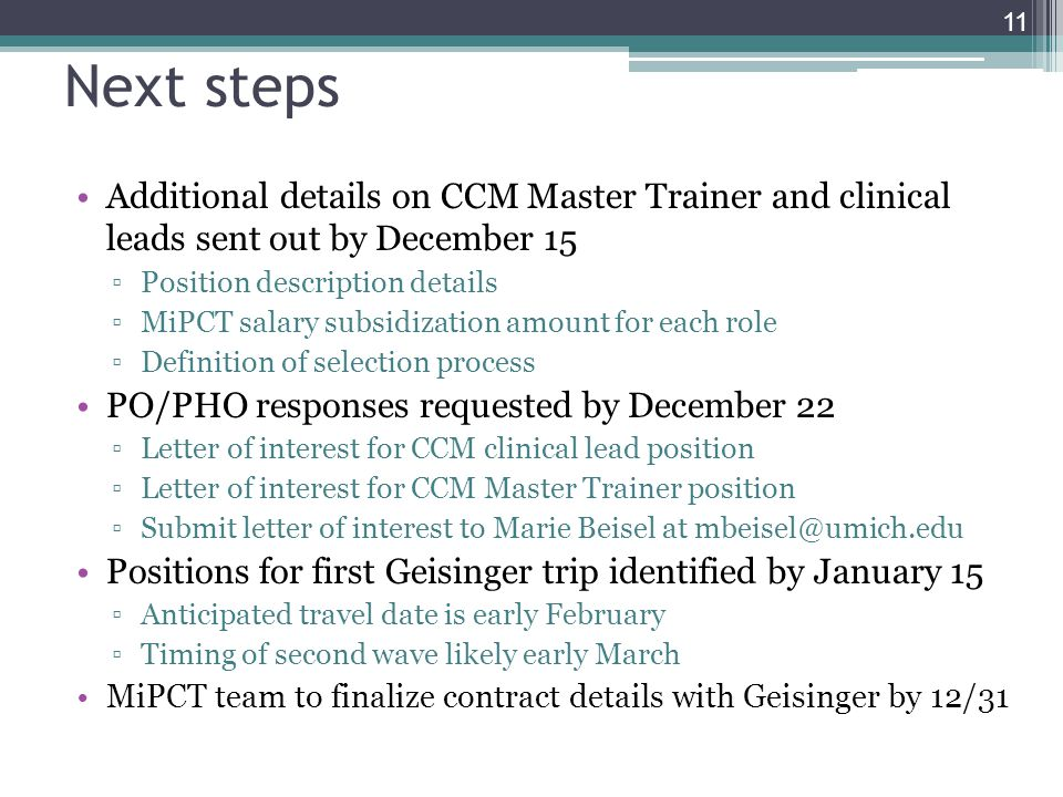 Next steps Additional details on CCM Master Trainer and clinical leads sent out by December 15. Position description details.