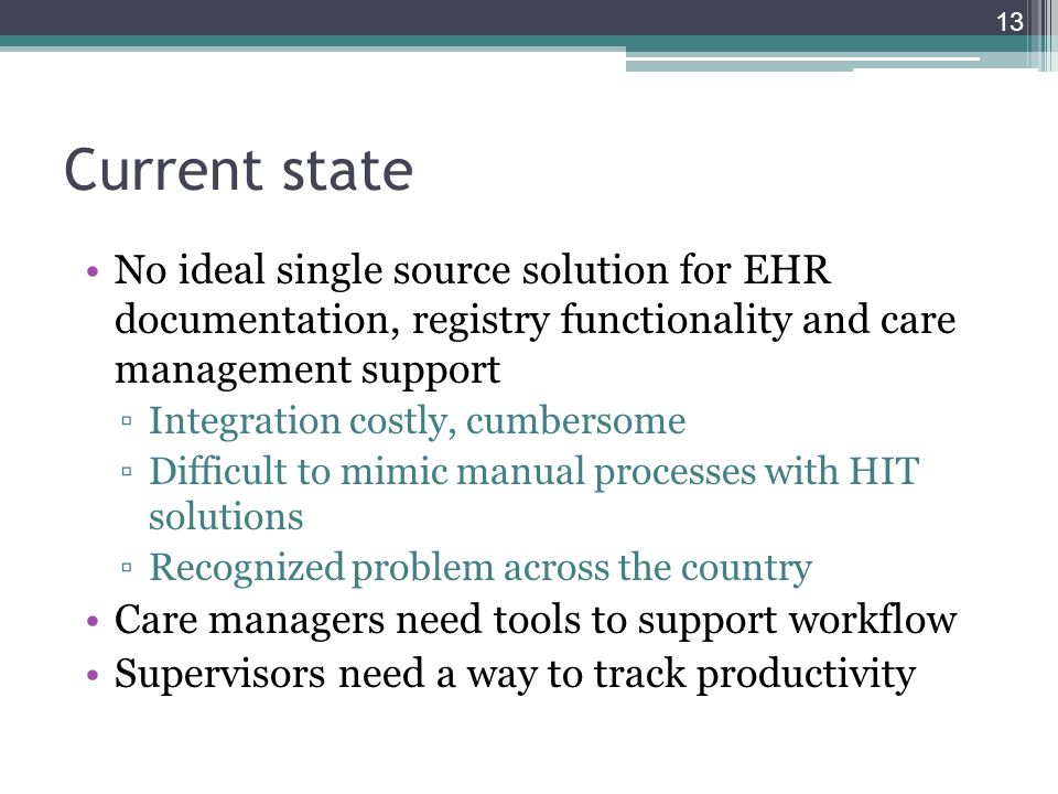 Current state No ideal single source solution for EHR documentation, registry functionality and care management support.