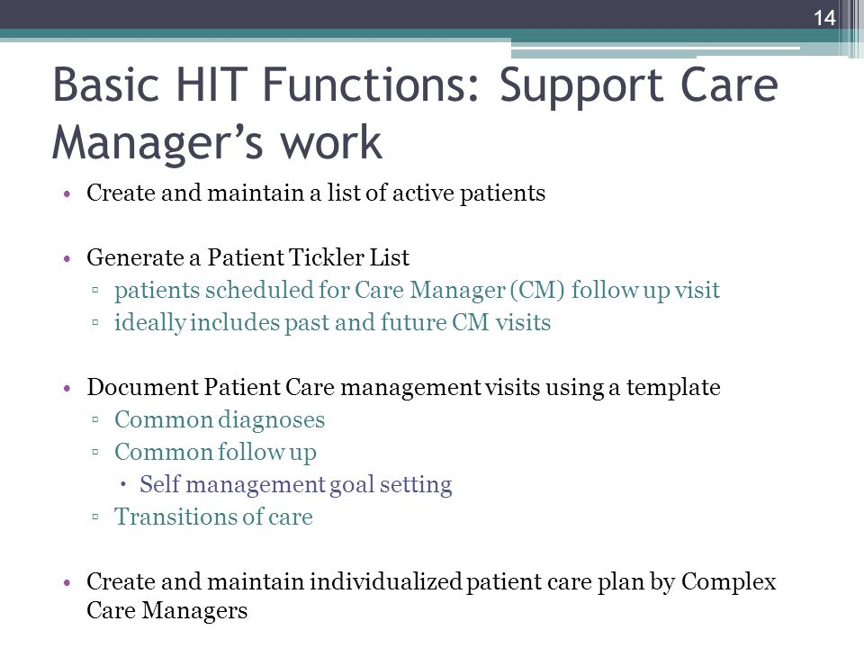 Basic HIT Functions: Support Care Manager's work