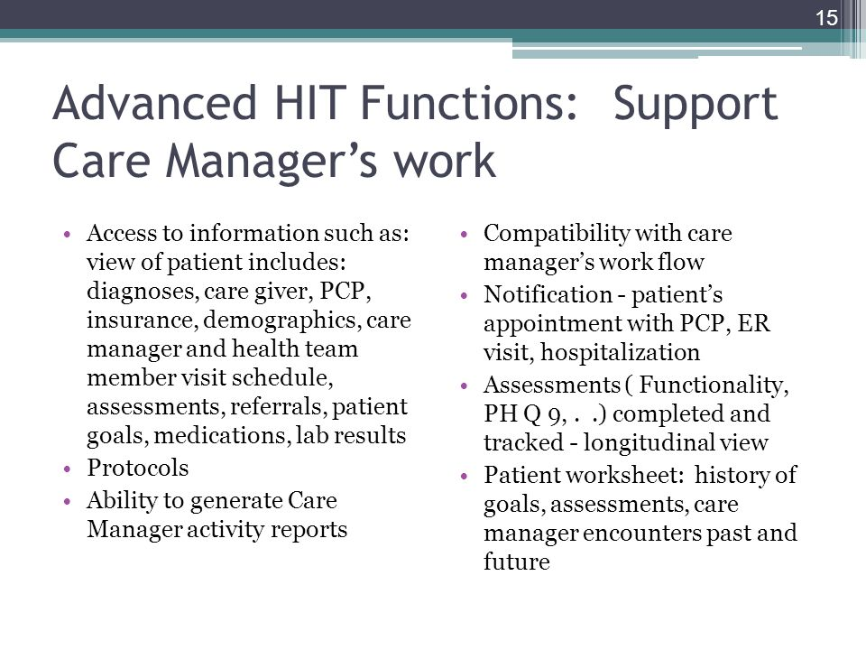 Advanced HIT Functions: Support Care Manager's work