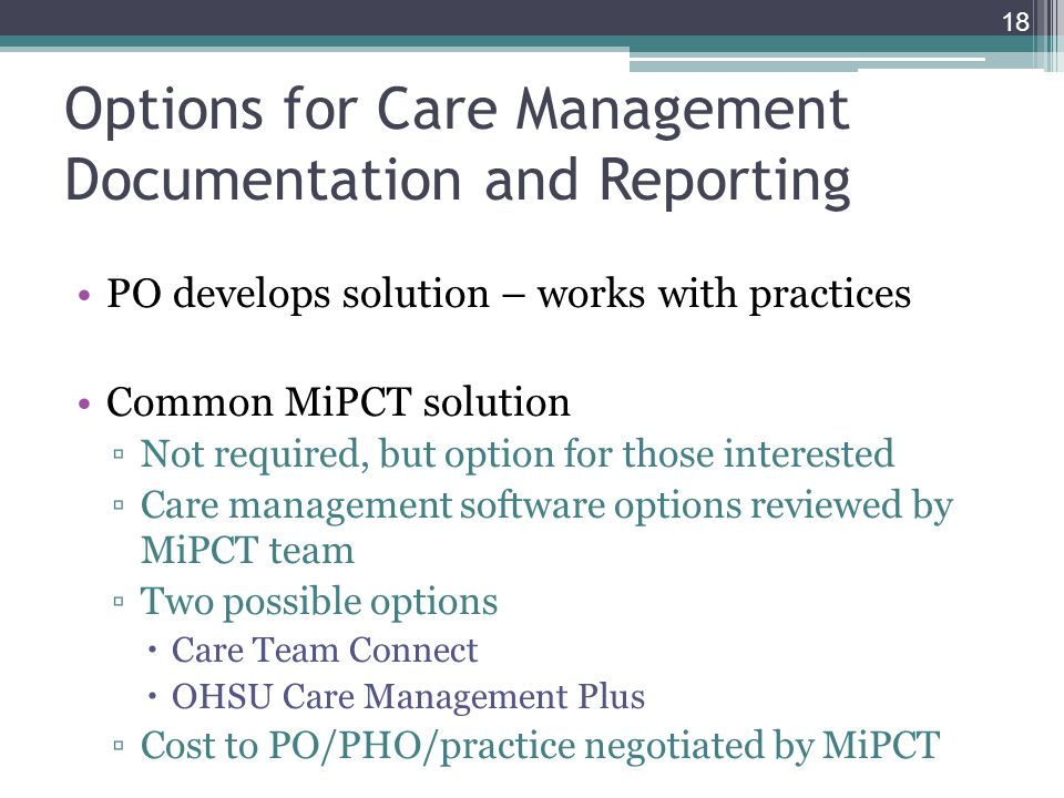 Options for Care Management Documentation and Reporting