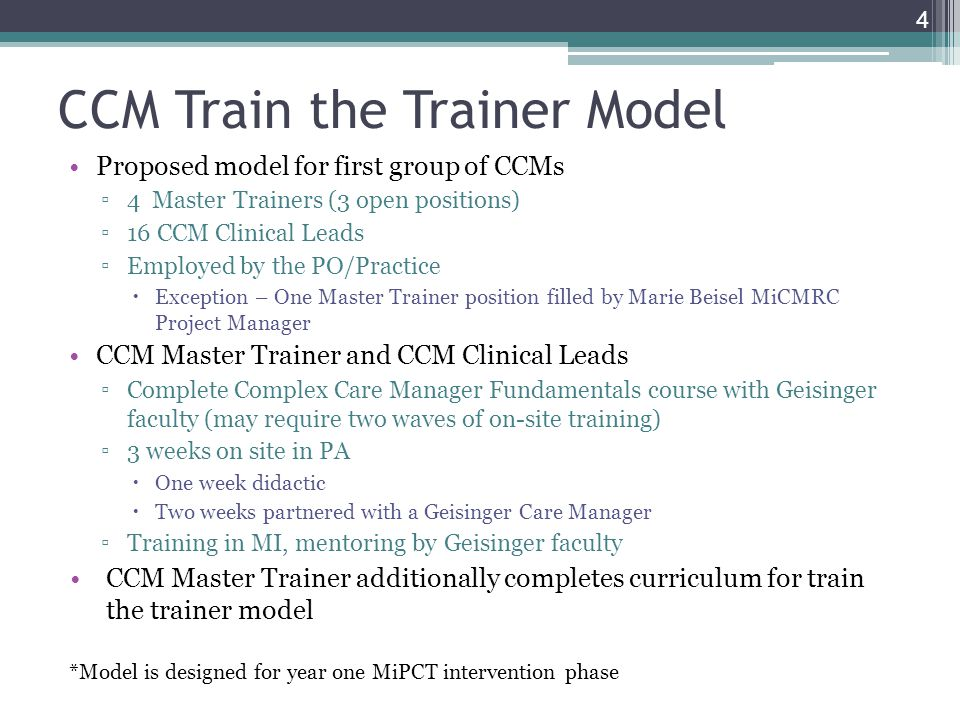 CCM Train the Trainer Model