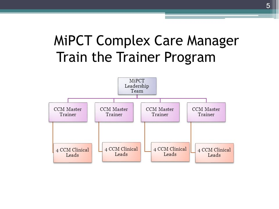 MiPCT Complex Care Manager Train the Trainer Program
