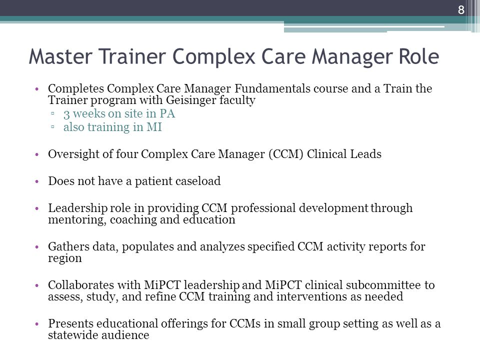 Master Trainer Complex Care Manager Role