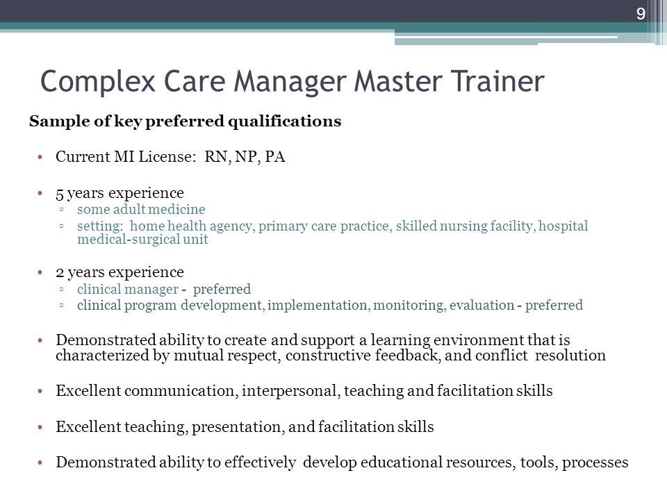 Complex Care Manager Master Trainer