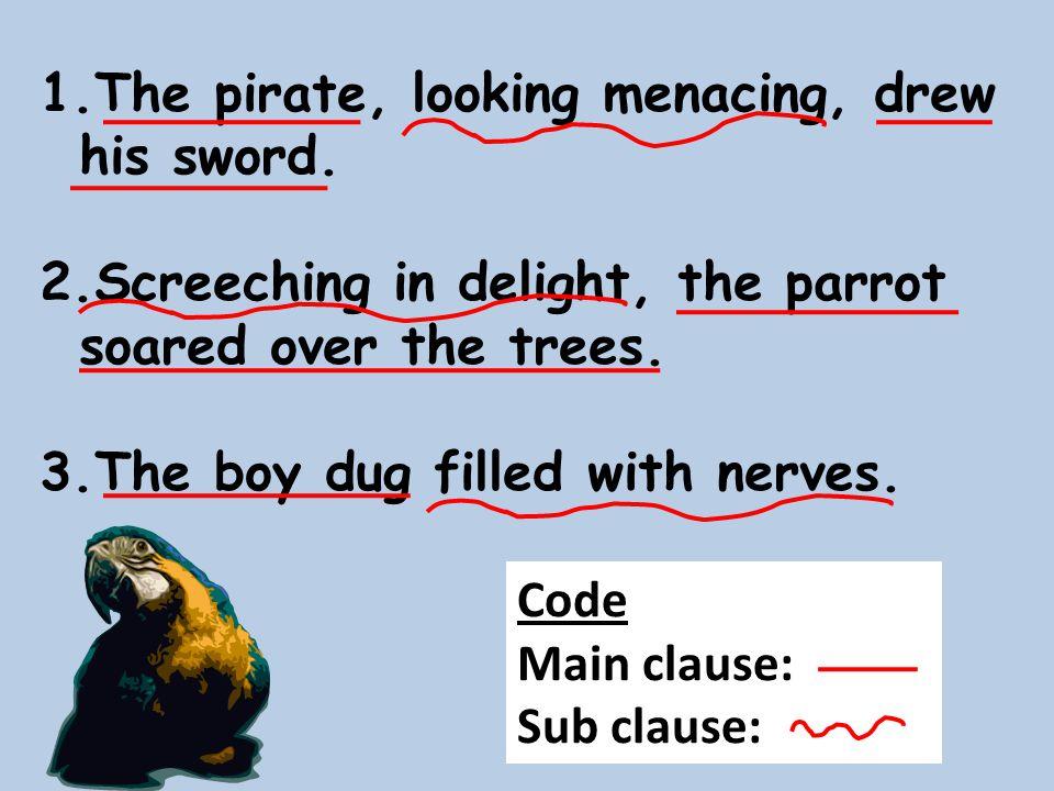 The pirate, looking menacing, drew his sword.