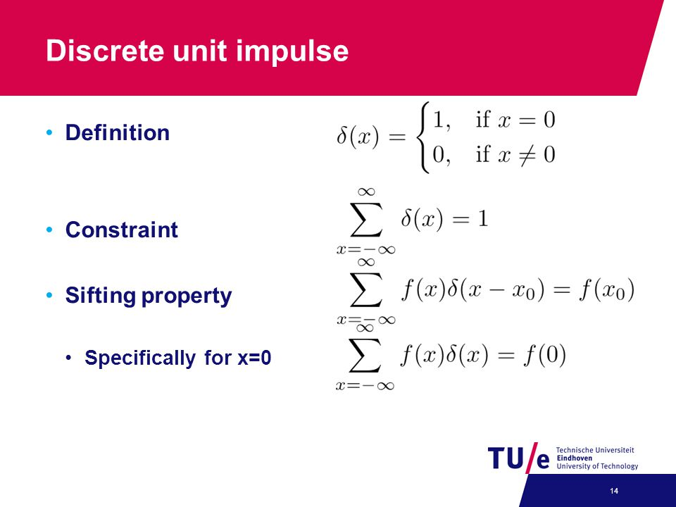 Discrete unit impulse Definition Constraint Sifting property