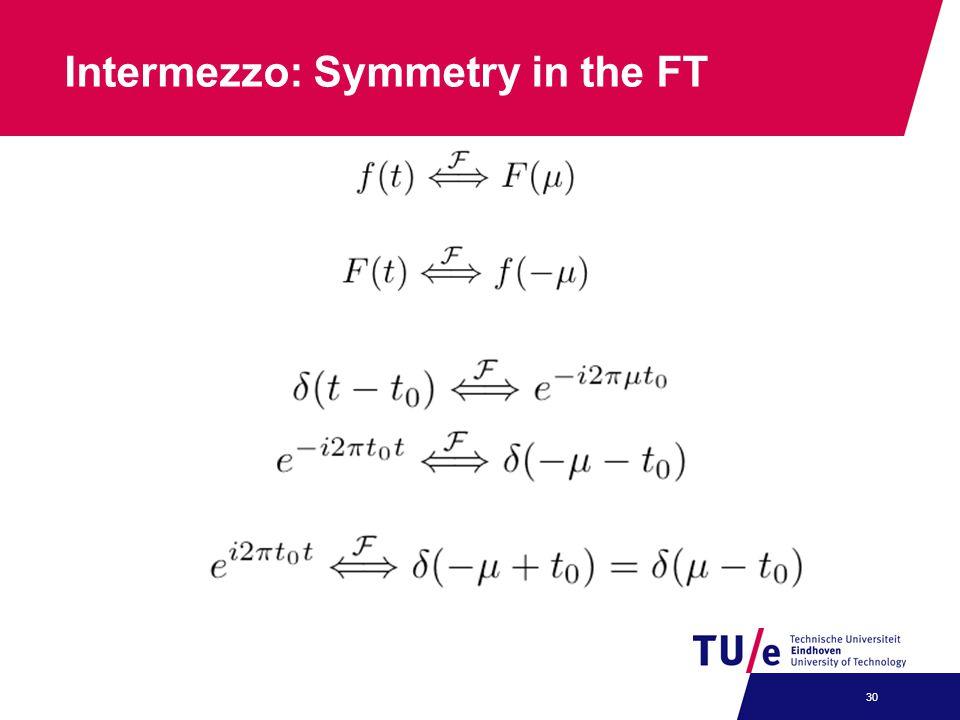 Intermezzo: Symmetry in the FT