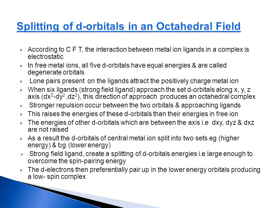 Splitting of d-orbitals in an Octahedral Field