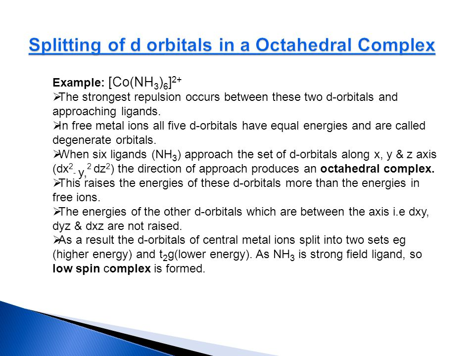 Splitting of d orbitals in a Octahedral Complex