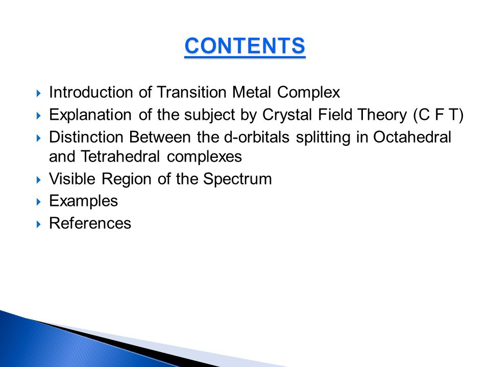 CONTENTS Introduction of Transition Metal Complex