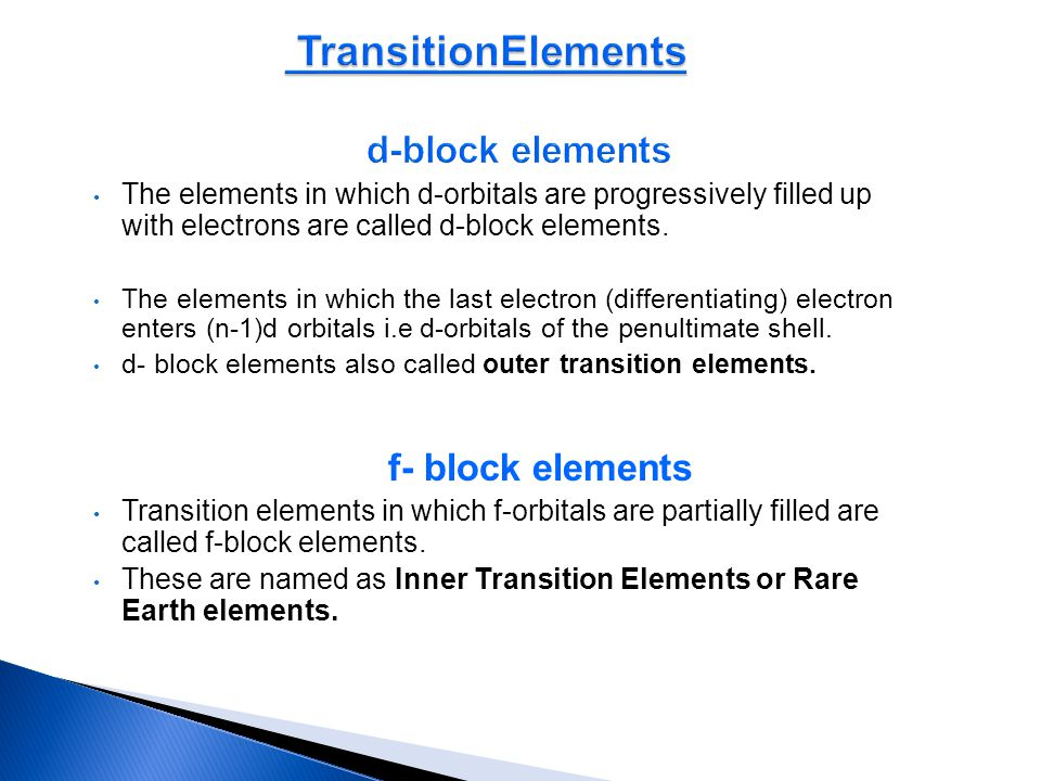 TransitionElements d-block elements