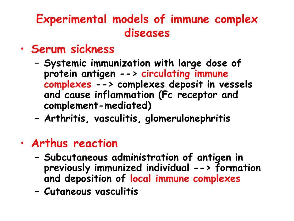 Experimental models of immune complex diseases