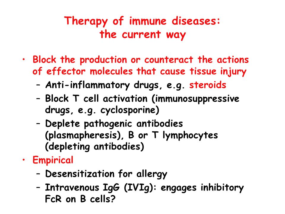 Therapy of immune diseases: the current way