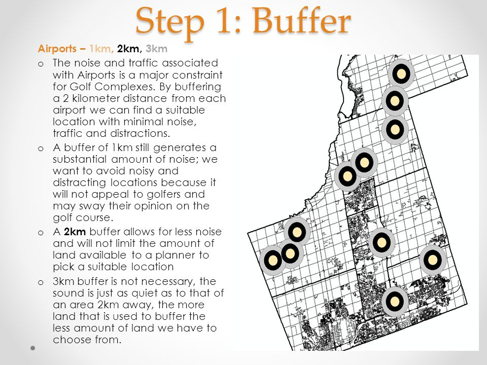 Step 1: Buffer Airports – 1km, 2km, 3km