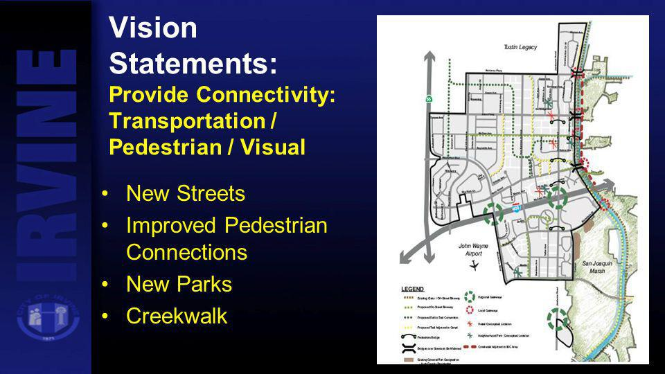 Vision Statements: Provide Connectivity: Transportation / Pedestrian / Visual